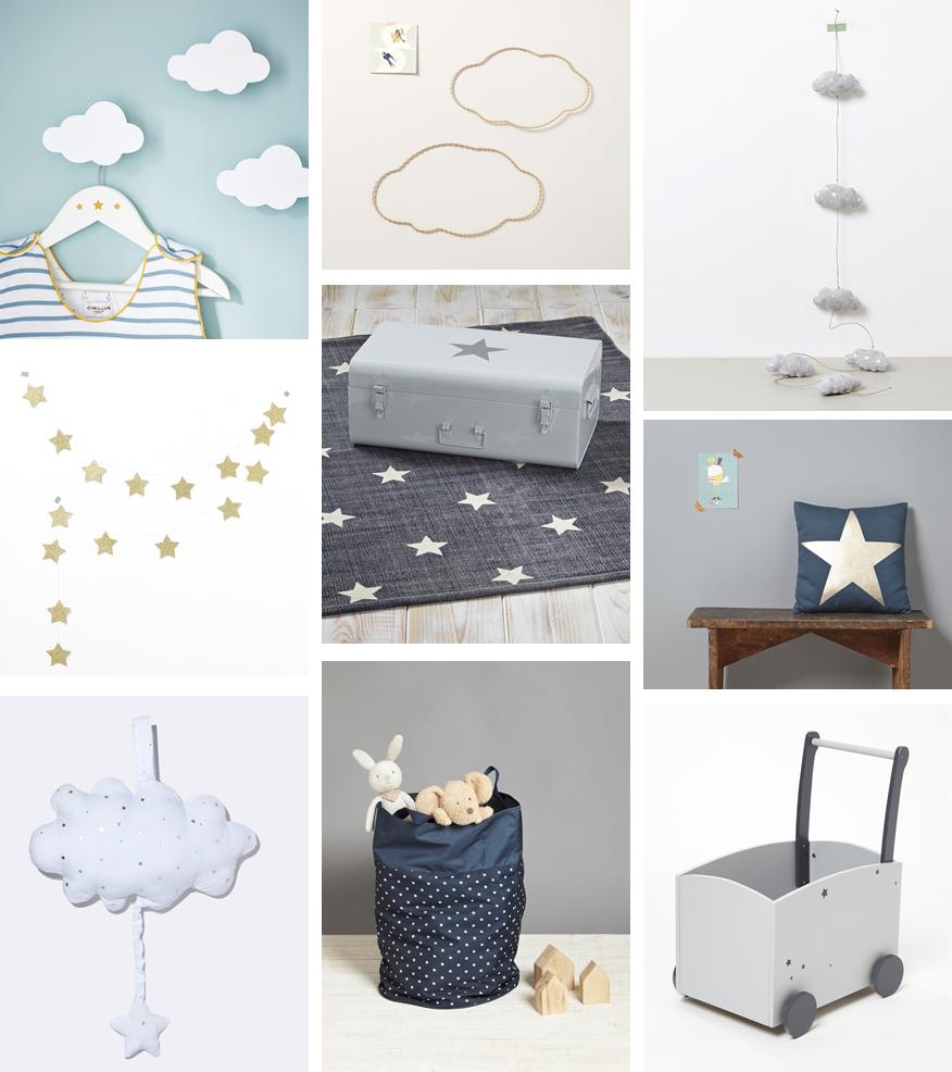 Inspiration déco #16 : nuages et étoiles pour la chambre de bébé