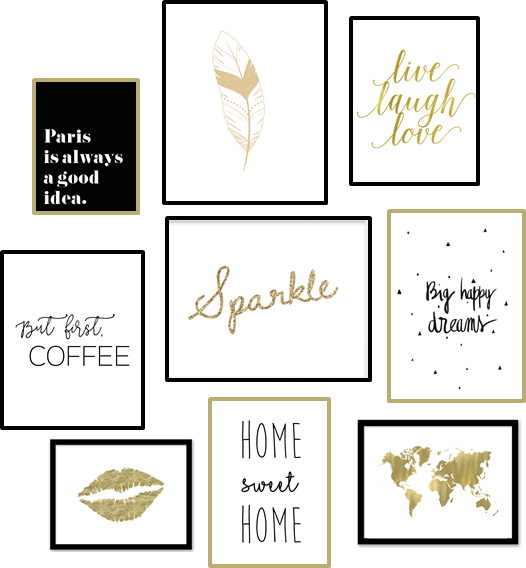 free printables un mur d 39 affiches gold black white. Black Bedroom Furniture Sets. Home Design Ideas